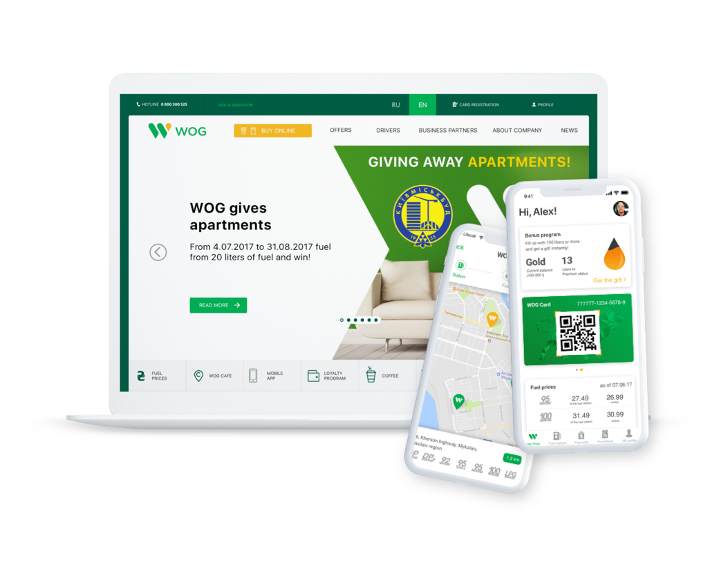 WOG. Website and loyalty app